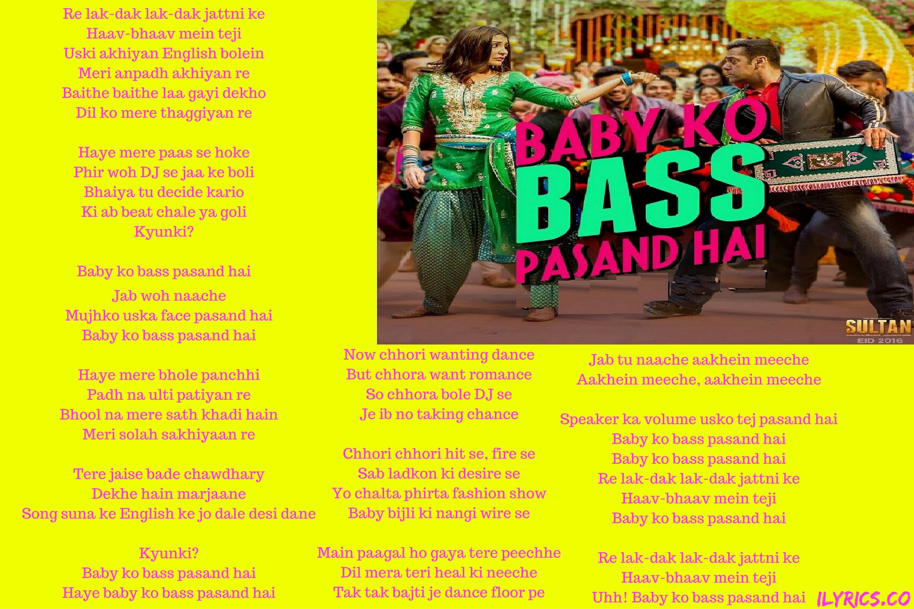 Baby Ko Bass Pasand Hai lyrics