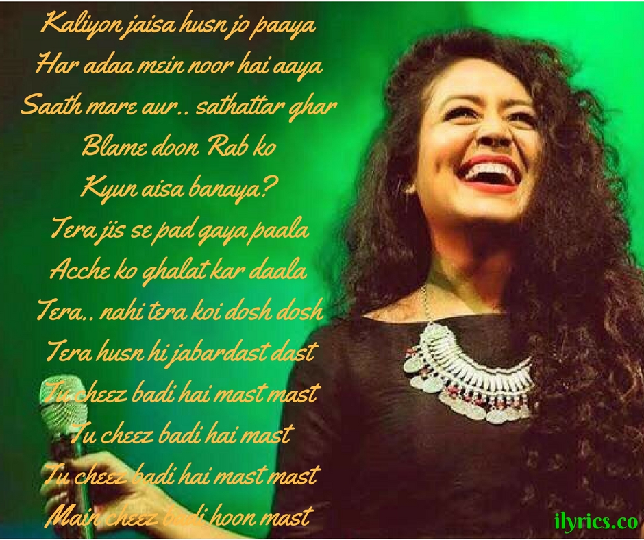 Cheez badi lyrics neha kakkar