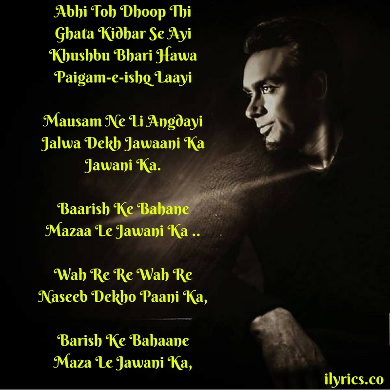 baarish ke bahane lyrics