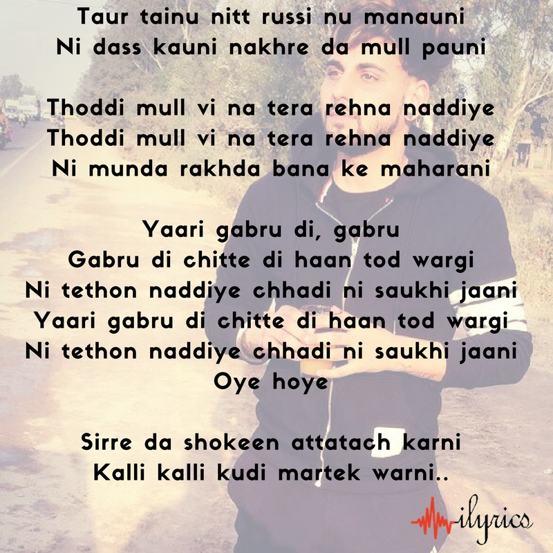 yaari gabru di lyrics